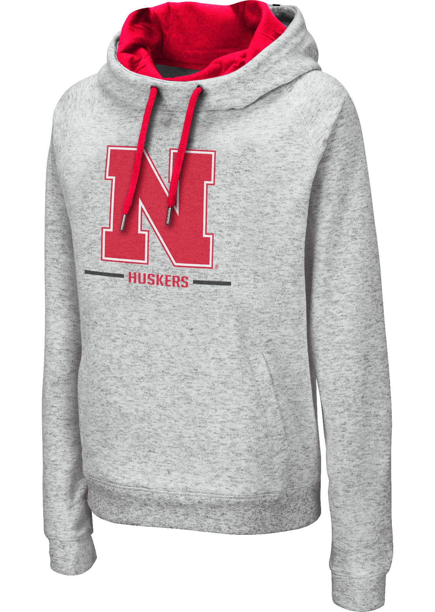 Colosseum Women's Nebraska Cornhuskers Grey Lily Funnel Neck Pullover Hoodie