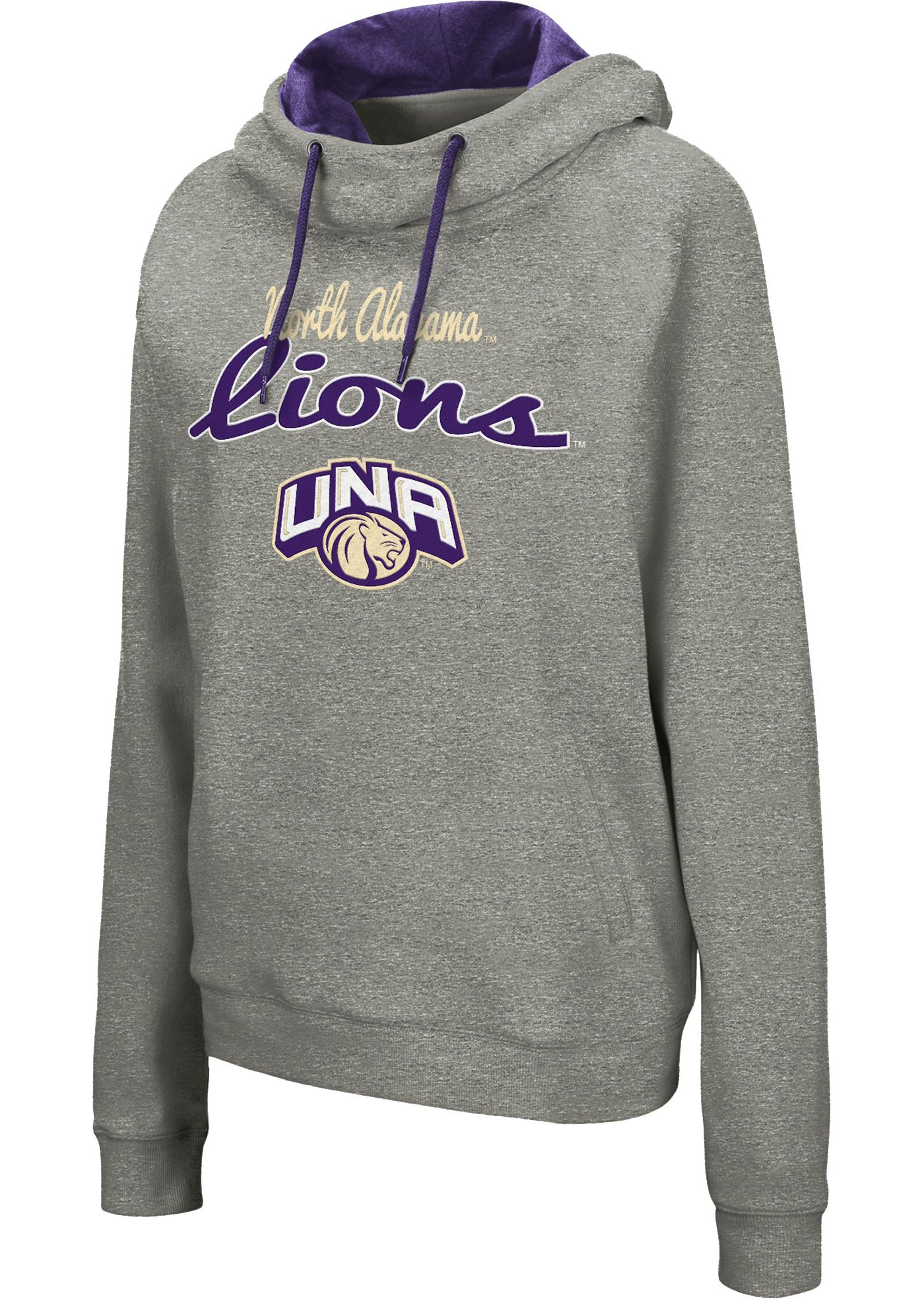 Colosseum Women's North Alabama  Lions Grey Studio Funnel Pullover Hoodie