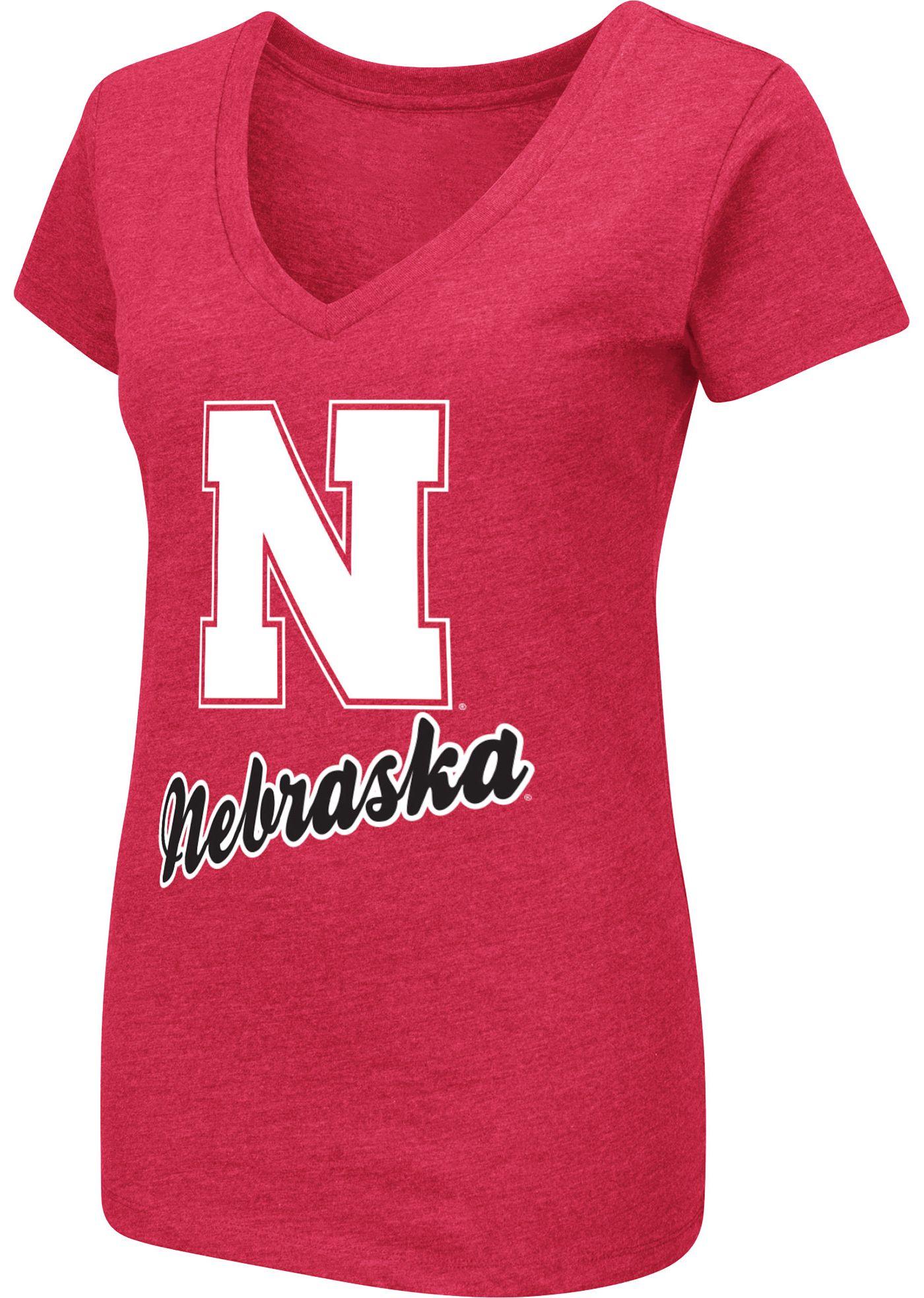 Colosseum Women's Nebraska Cornhuskers Scarlet Dual Blend V-Neck T-Shirt