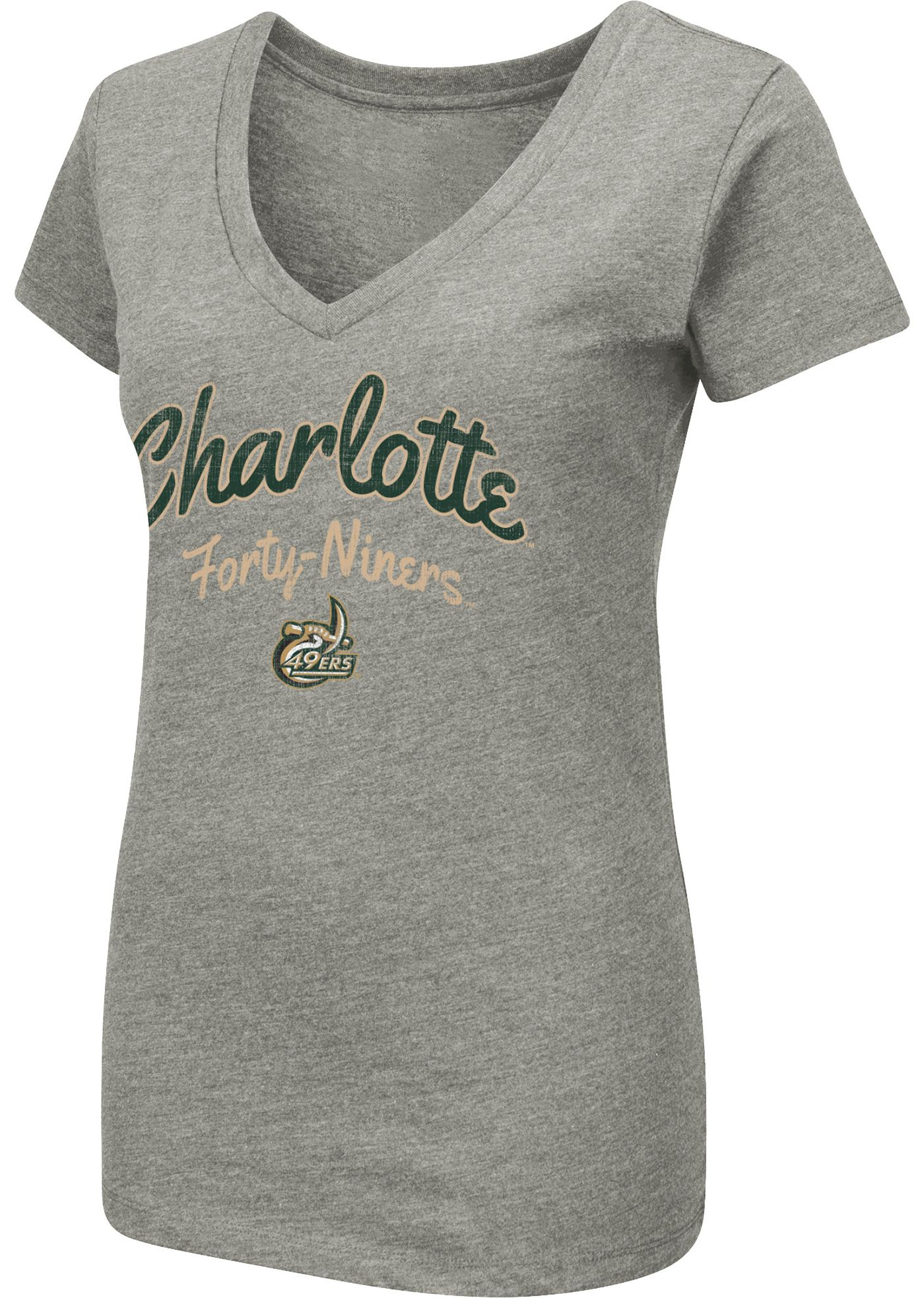 Colosseum Women's Charlotte 49ers Grey Dual Blend V-Neck T-Shirt