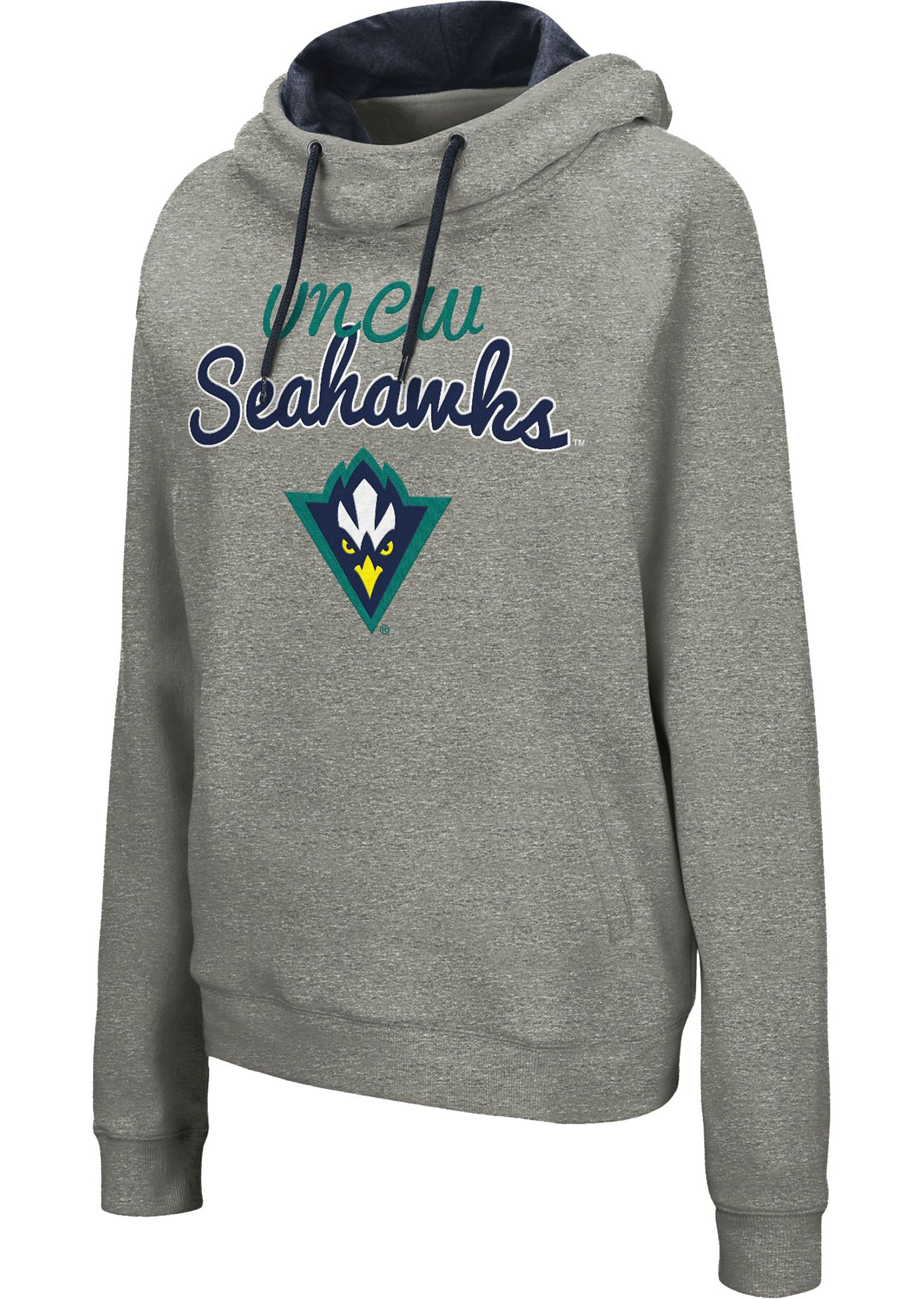 Colosseum Women's UNC-Wilmington  Seahawks Grey Studio Funnel Pullover Hoodie
