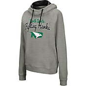 Colosseum Women's North Dakota Fighting Hawks Grey Studio Funnel Pullover Hoodie