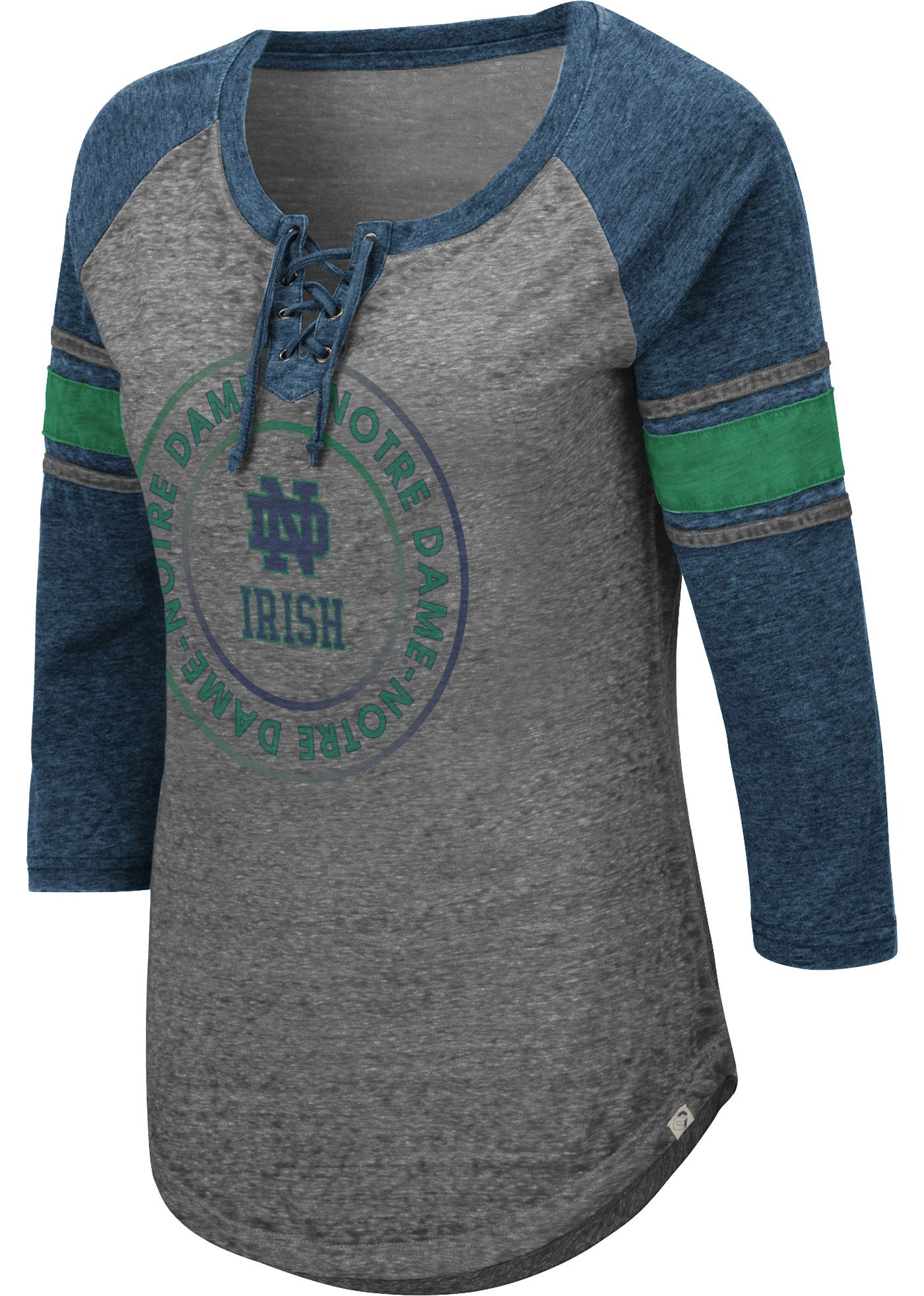 Colosseum Women's Notre Dame Fighting Irish Grey Carrie Long Sleeve T-Shirt