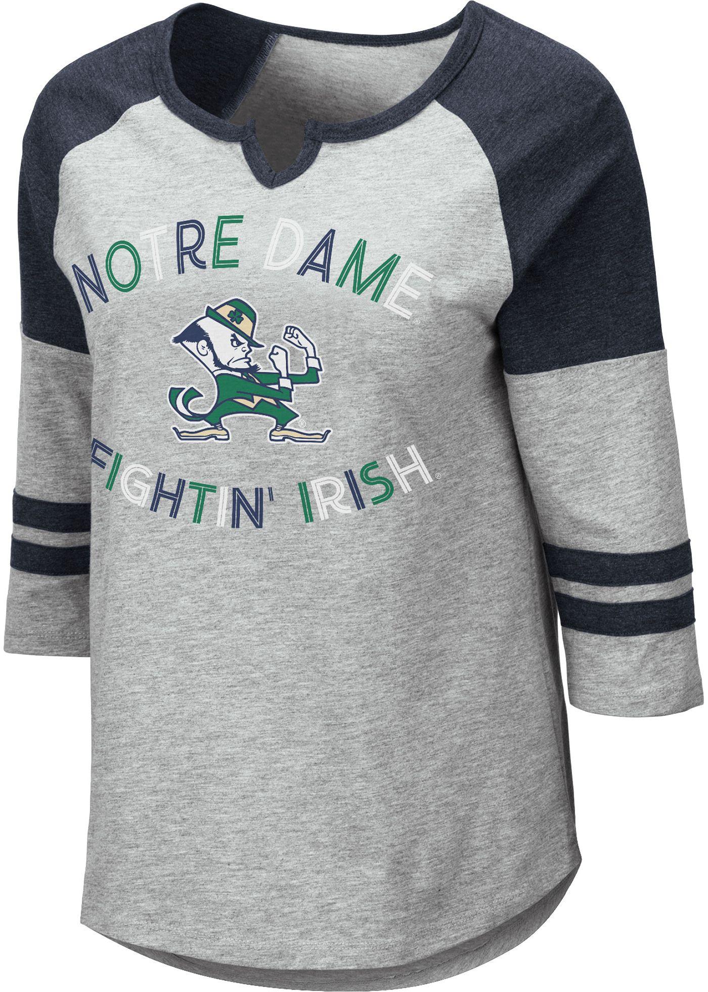 Colosseum Women's Notre Dame Fighting Irish Grey York Three-Quarter Sleeve Shirt