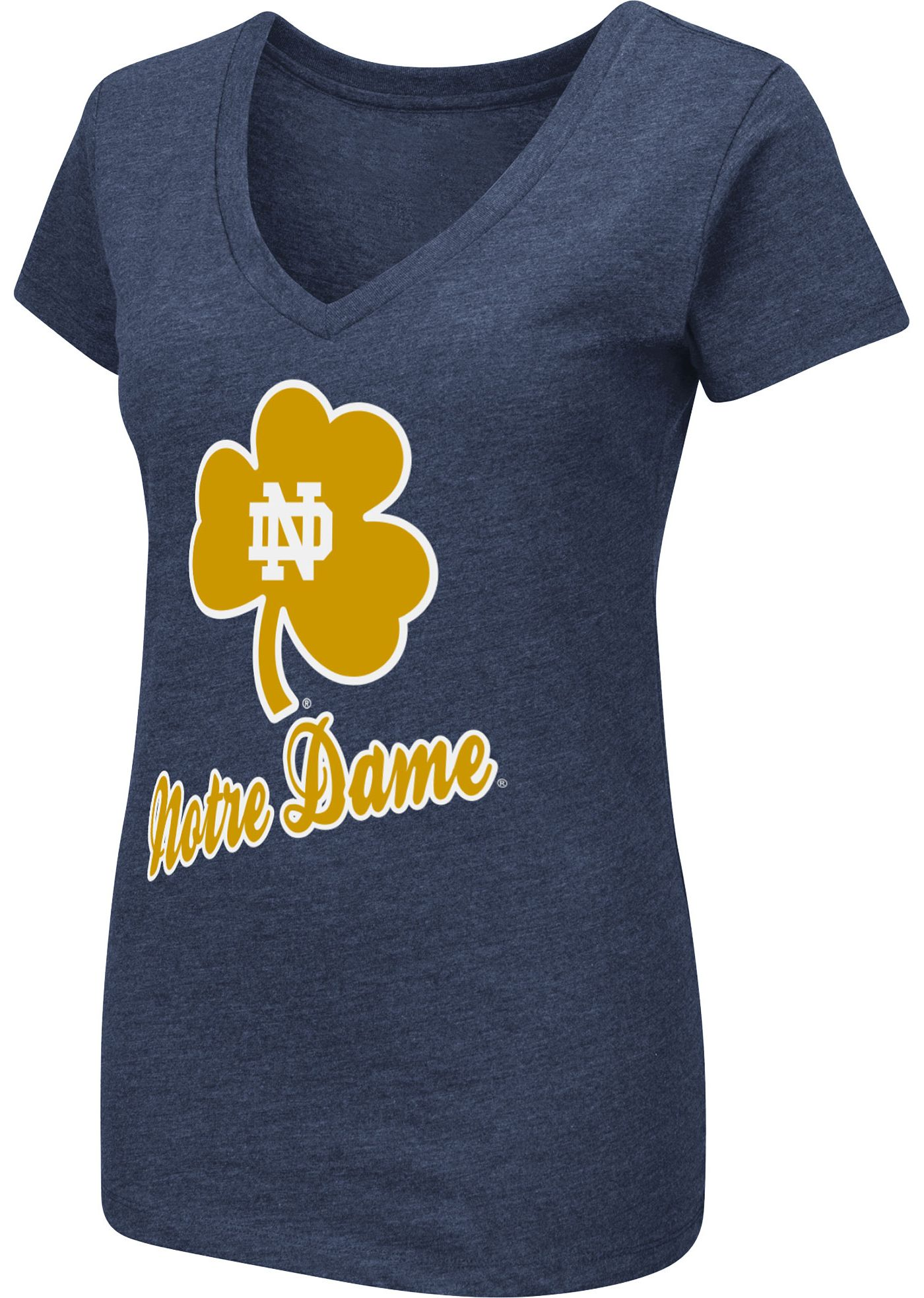 Colosseum Women's Notre Dame Fighting Irish Navy Dual Blend V-Neck T-Shirt