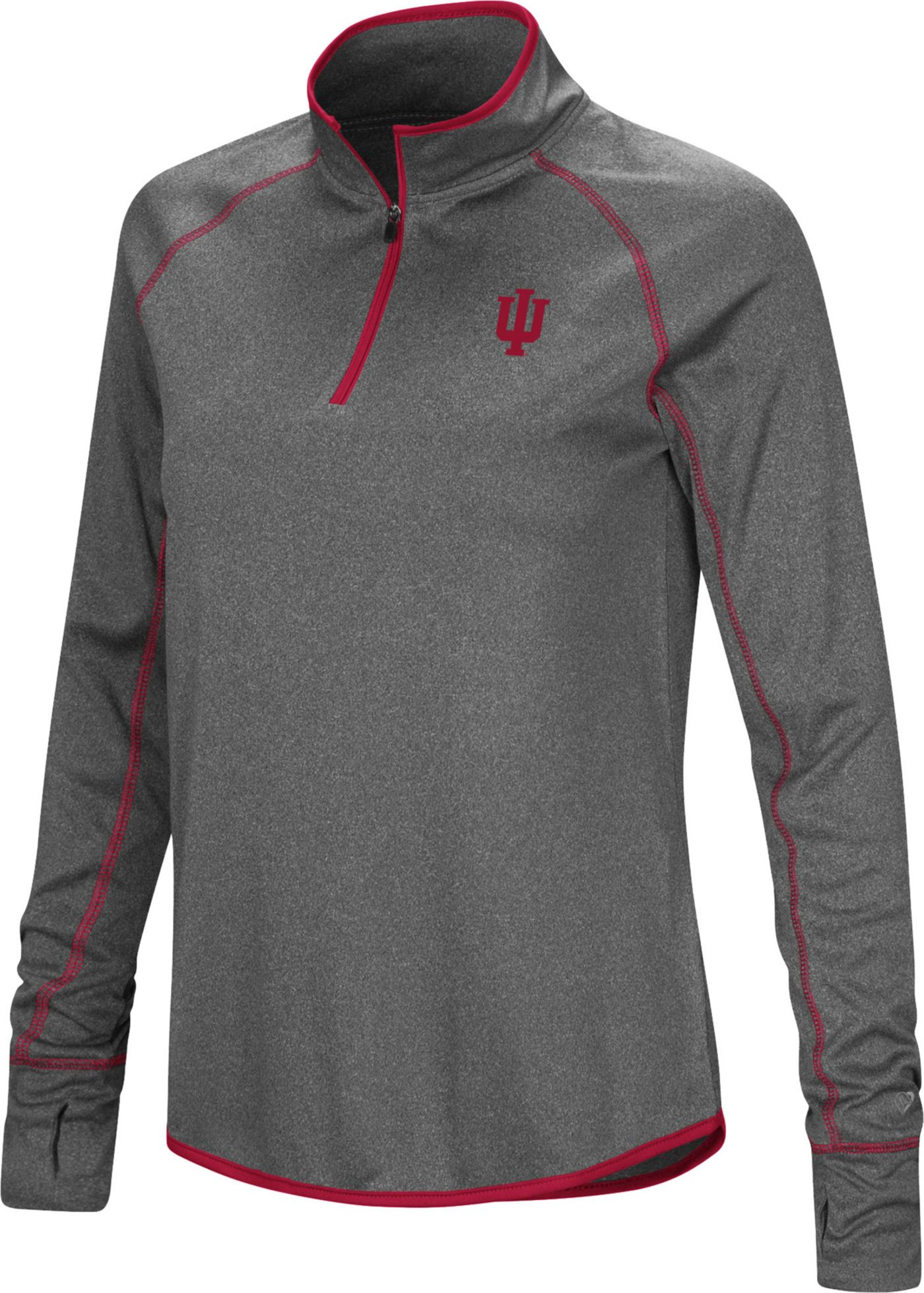 Colosseum Women's Indiana Hoosiers Grey Stingray Quarter-Zip Shirt