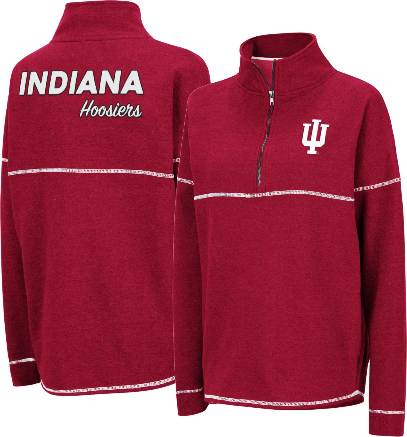 Colosseum Women's Indiana Hoosiers Crimson Horsetail Half-Zip Shirt