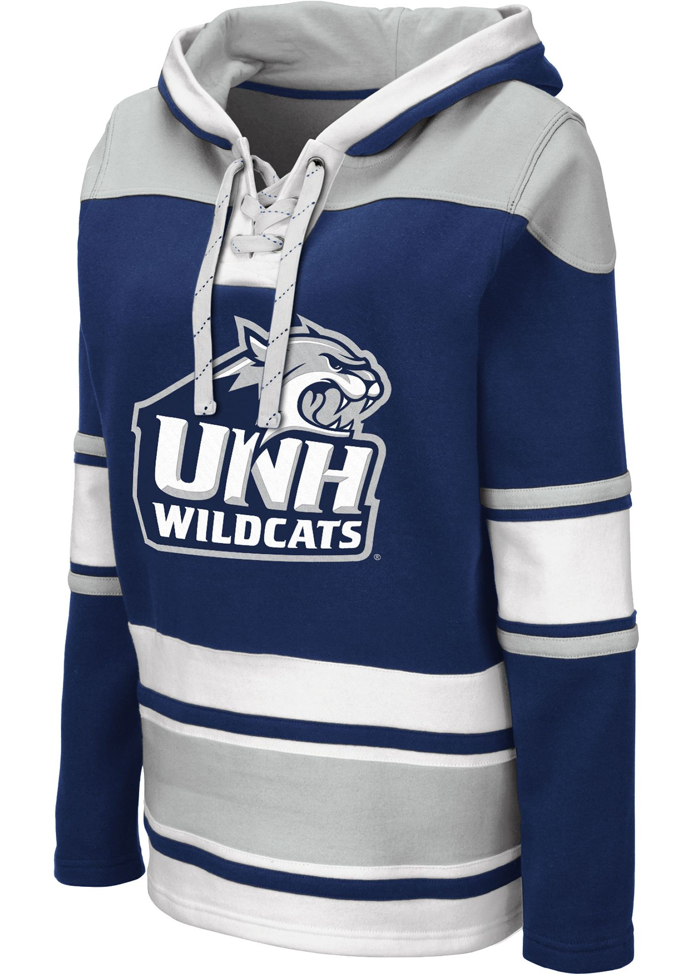 Colosseum Women's New Hampshire Wildcats Blue Choo Hockey Pullover Hoodie