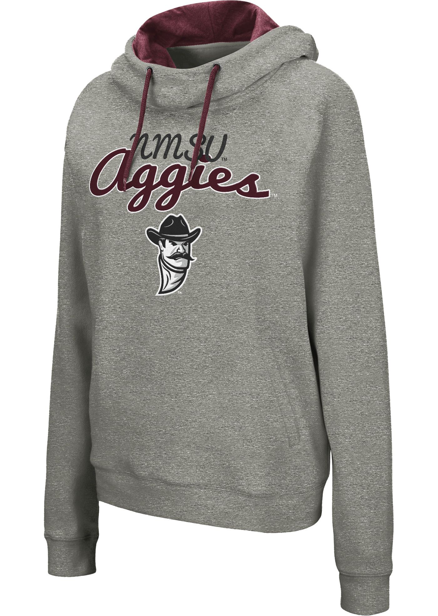 Colosseum Women's New Mexico State Aggies Grey Studio Funnel Pullover Hoodie
