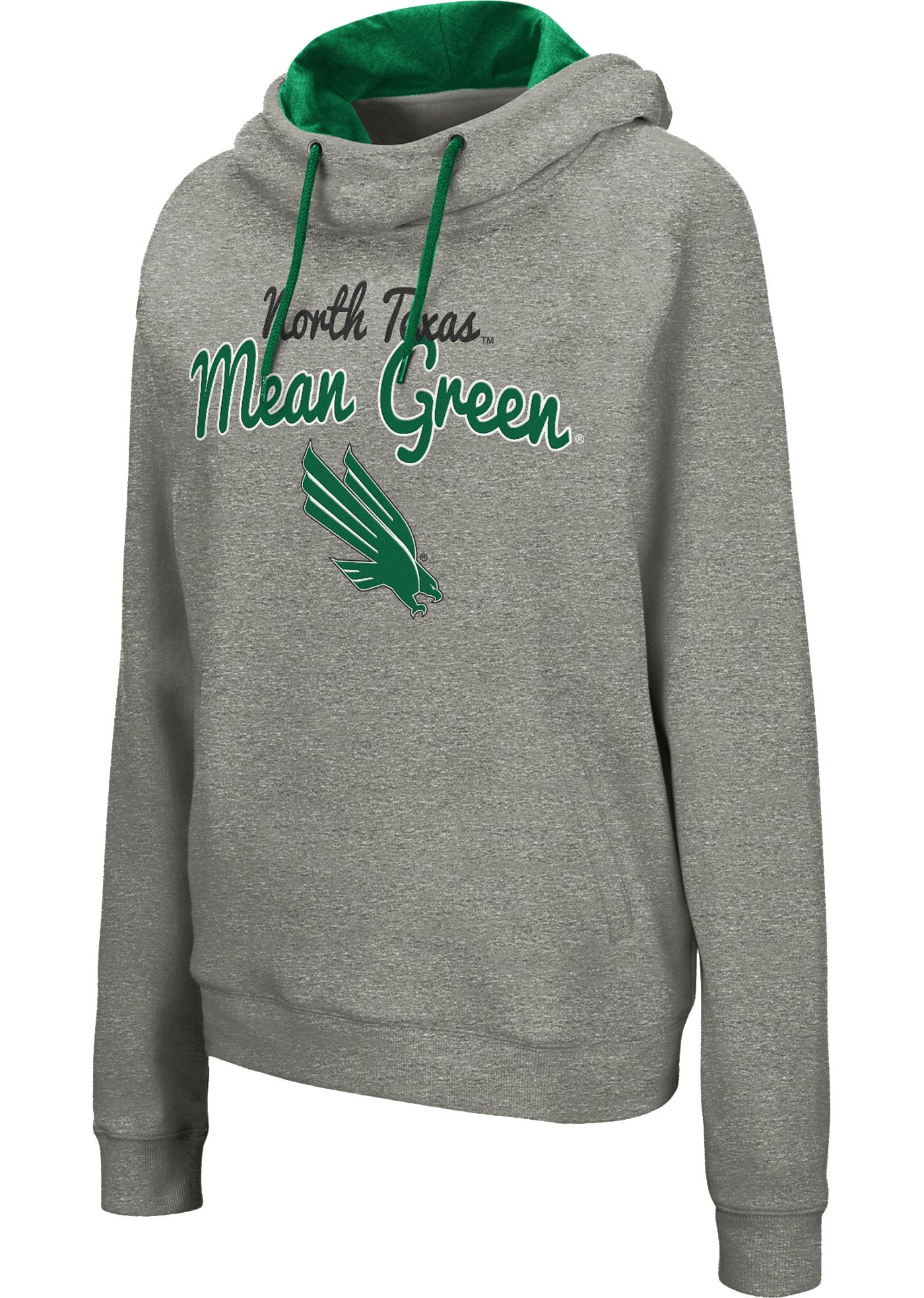 Colosseum Women's North Texas Mean Green Grey Studio Funnel Pullover Hoodie
