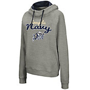 Colosseum Women's Navy Midshipmen Grey Studio Funnel Pullover Hoodie