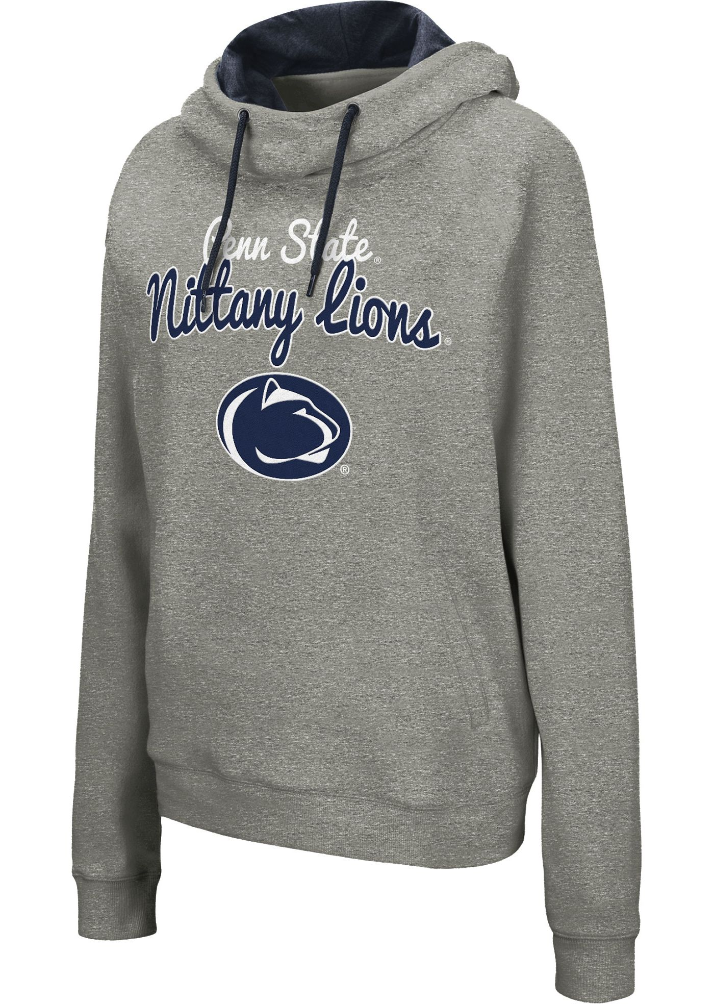 Colosseum Women's Penn State Nittany Lions Grey Studio Funnel Pullover Hoodie