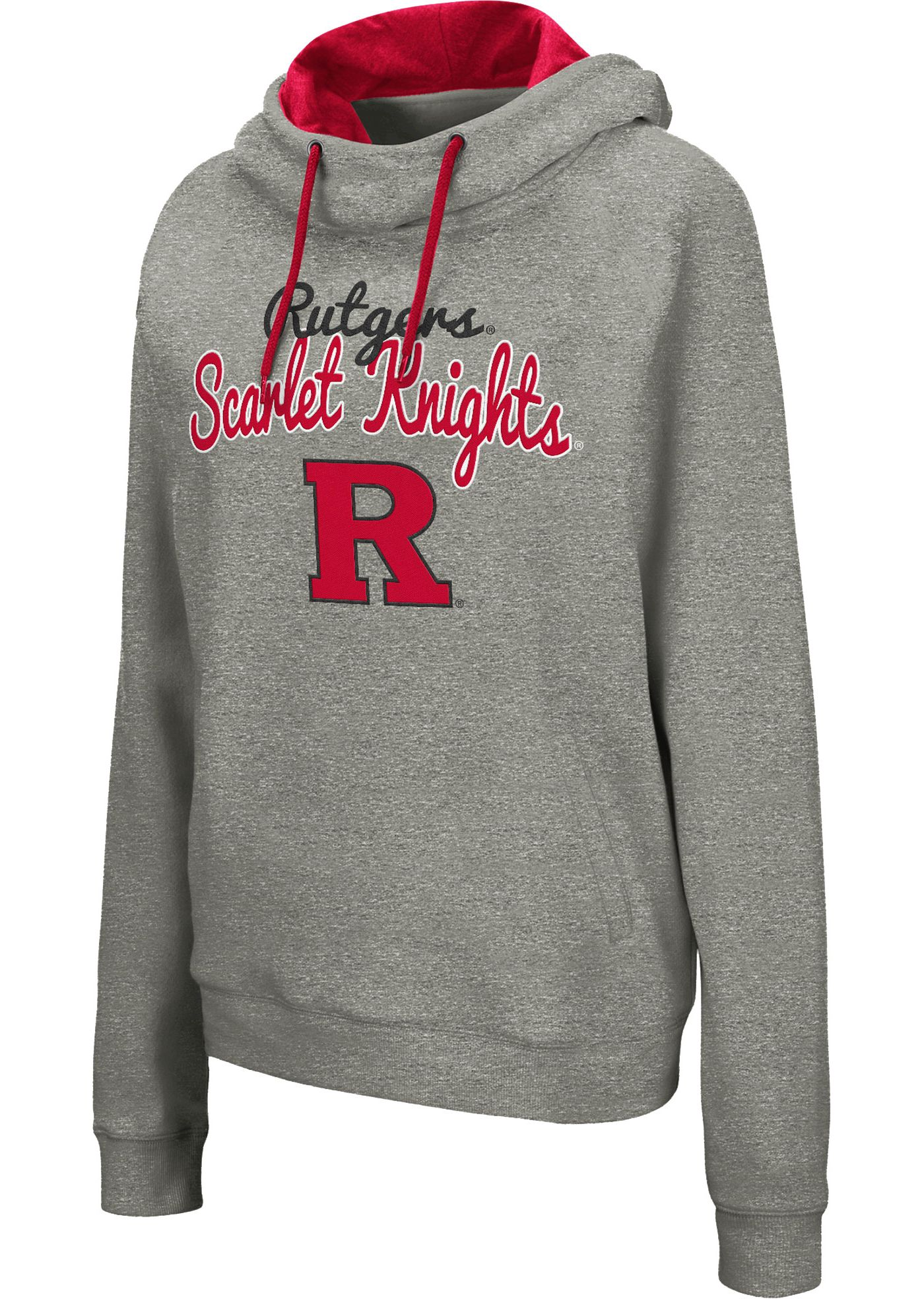 Colosseum Women's Rutgers Scarlet Knights Grey Studio Funnel Pullover Hoodie