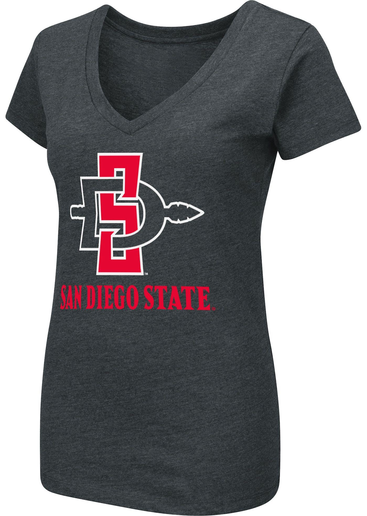 Colosseum Women's San Diego State Aztecs Dual Blend V-Neck Black T-Shirt