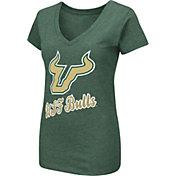 Colosseum Women's South Florida Bulls Green Dual Blend V-Neck T-Shirt