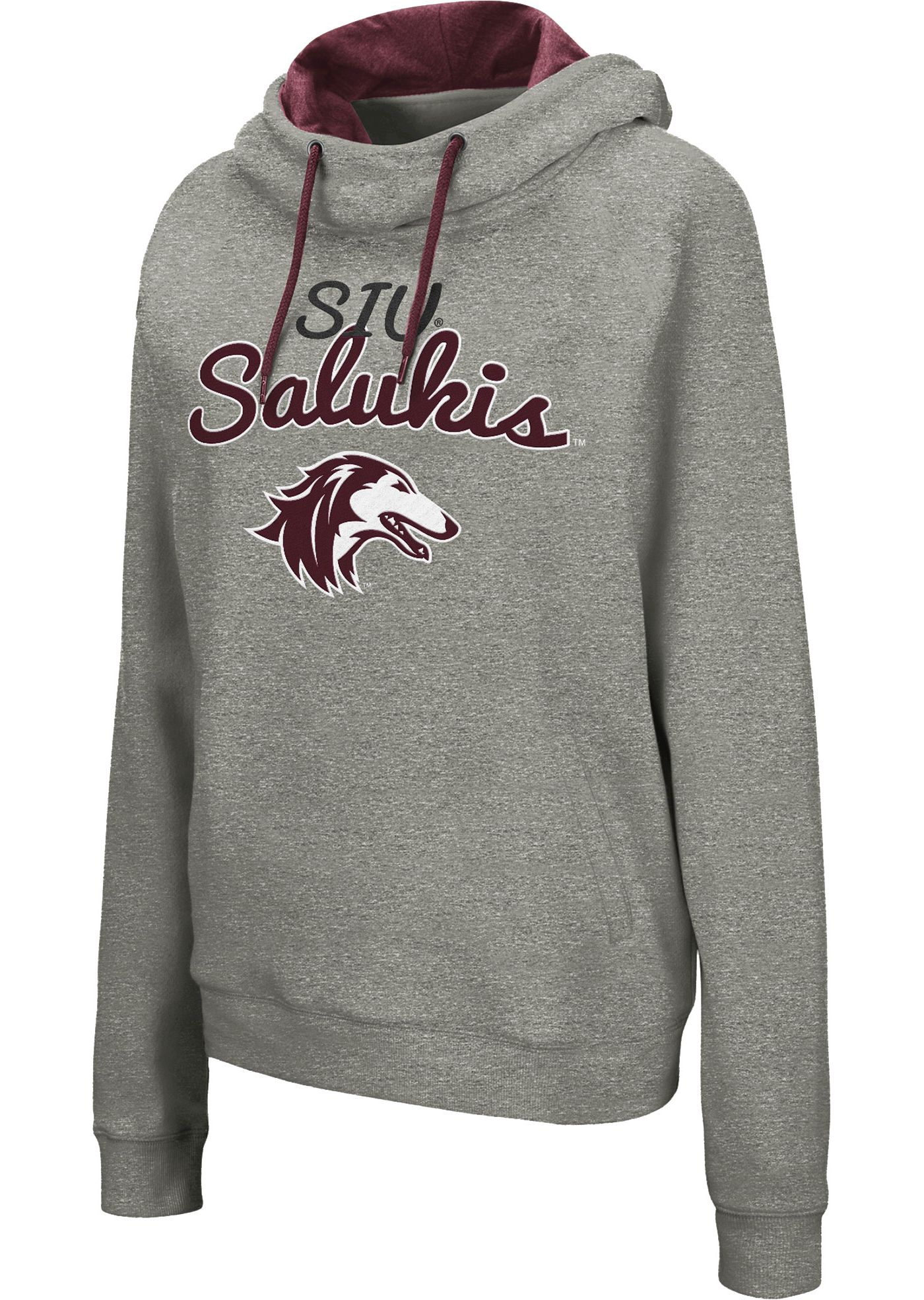 Colosseum Women's Southern Illinois  Salukis Grey Studio Funnel Pullover Hoodie