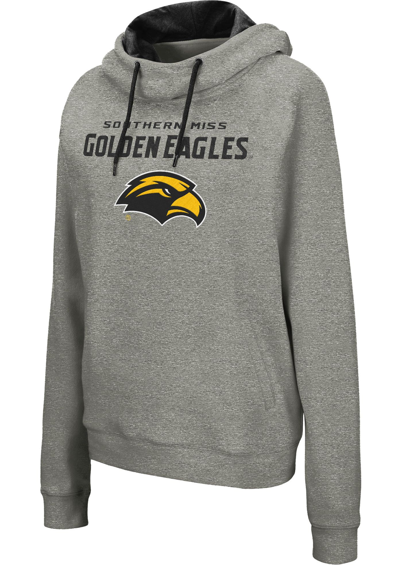 Colosseum Women's Southern Miss Golden Eagles Grey Studio Funnel Pullover Hoodie