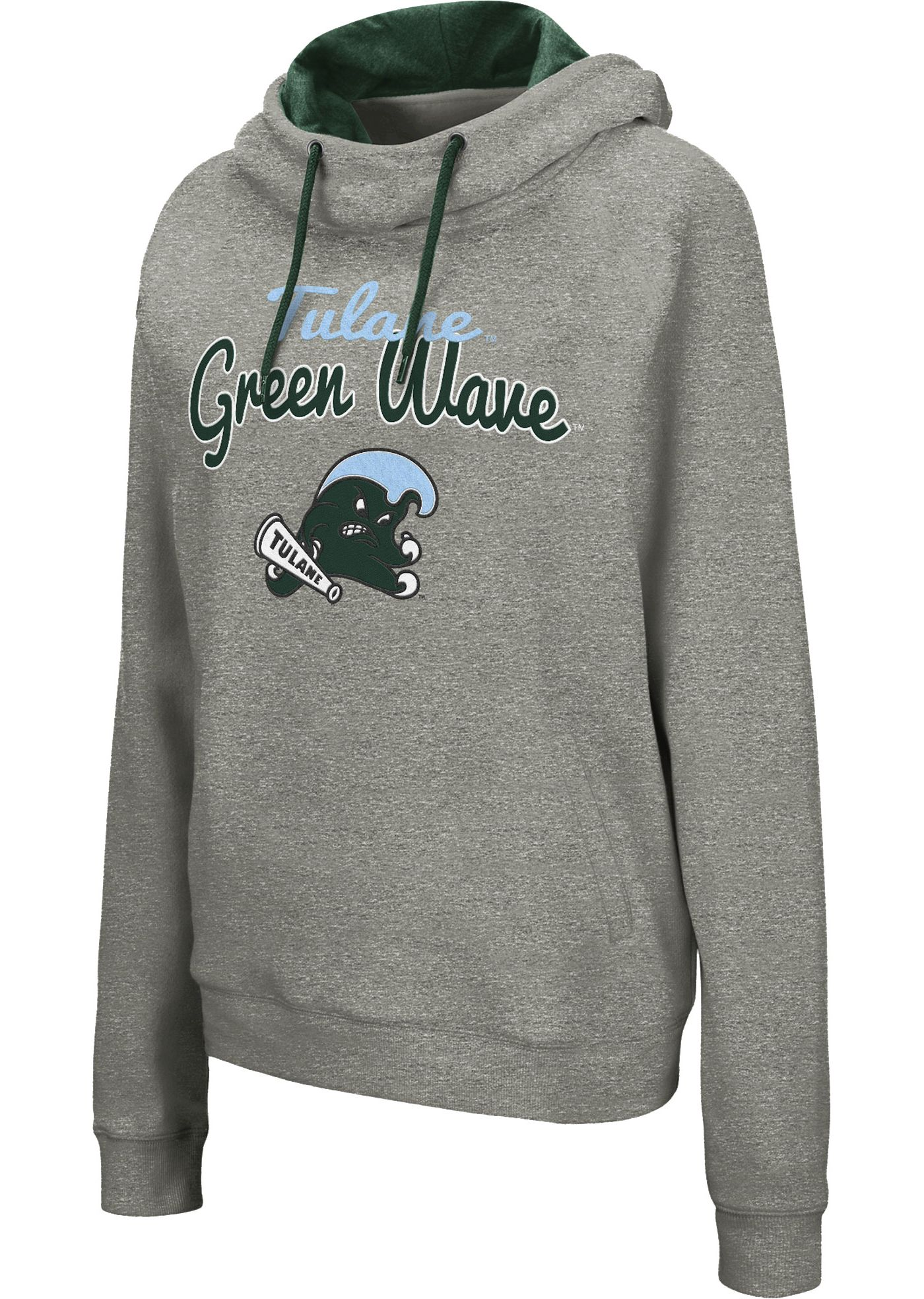 Colosseum Women's Tulane Green Wave Grey Studio Funnel Pullover Hoodie