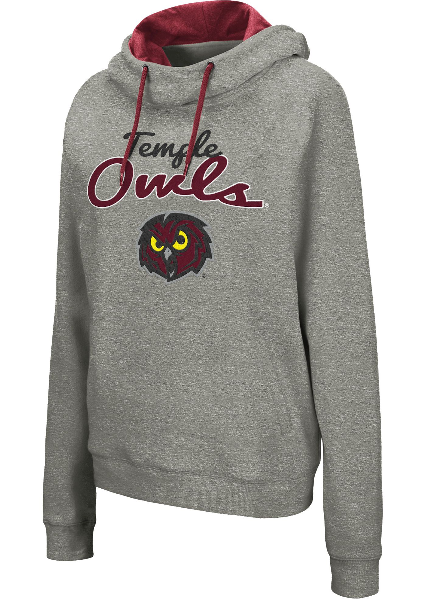 Colosseum Women's Temple Owls Grey Studio Funnel Pullover Hoodie