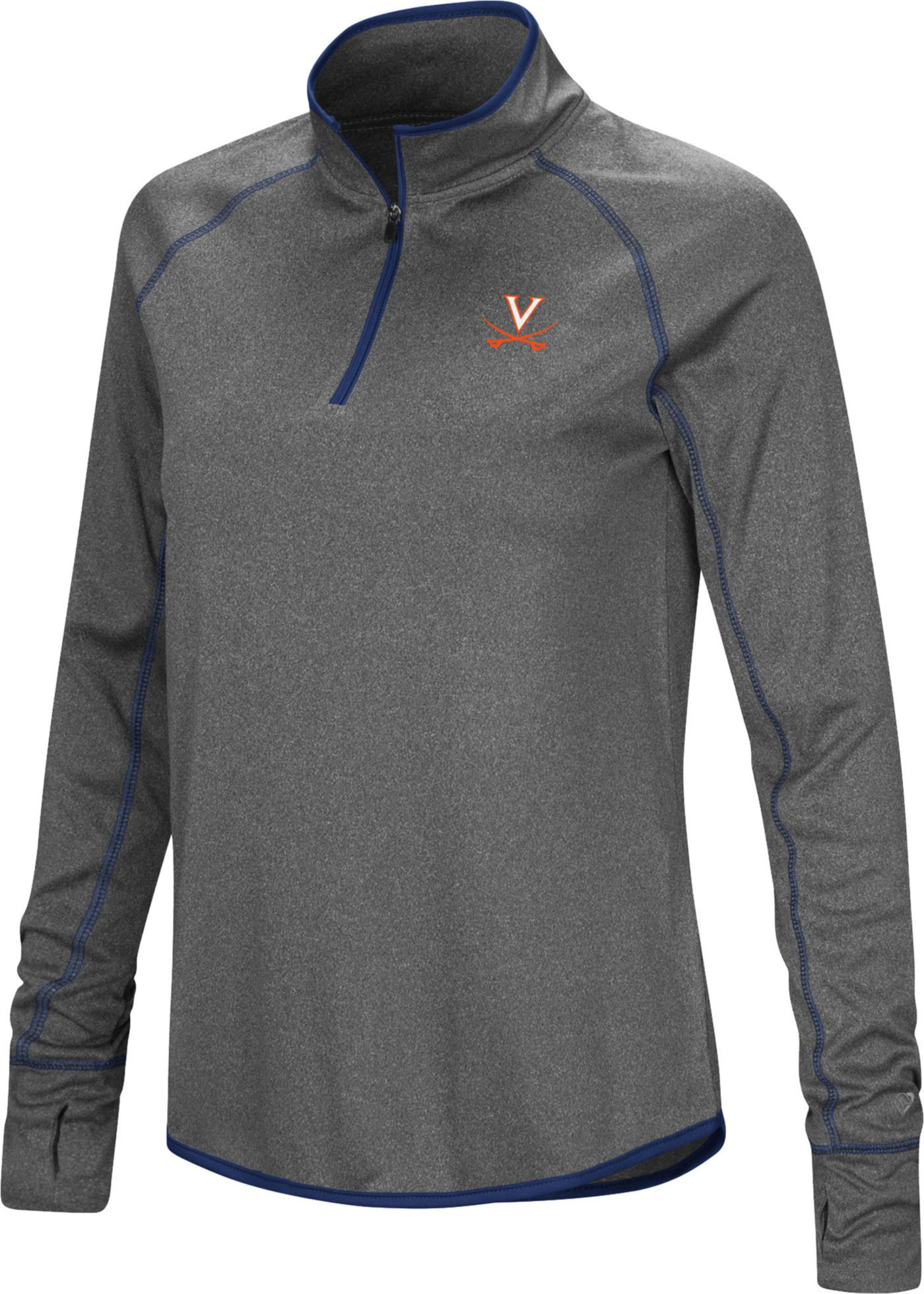 Colosseum Women's Virginia Cavaliers Grey Stingray Quarter-Zip Shirt