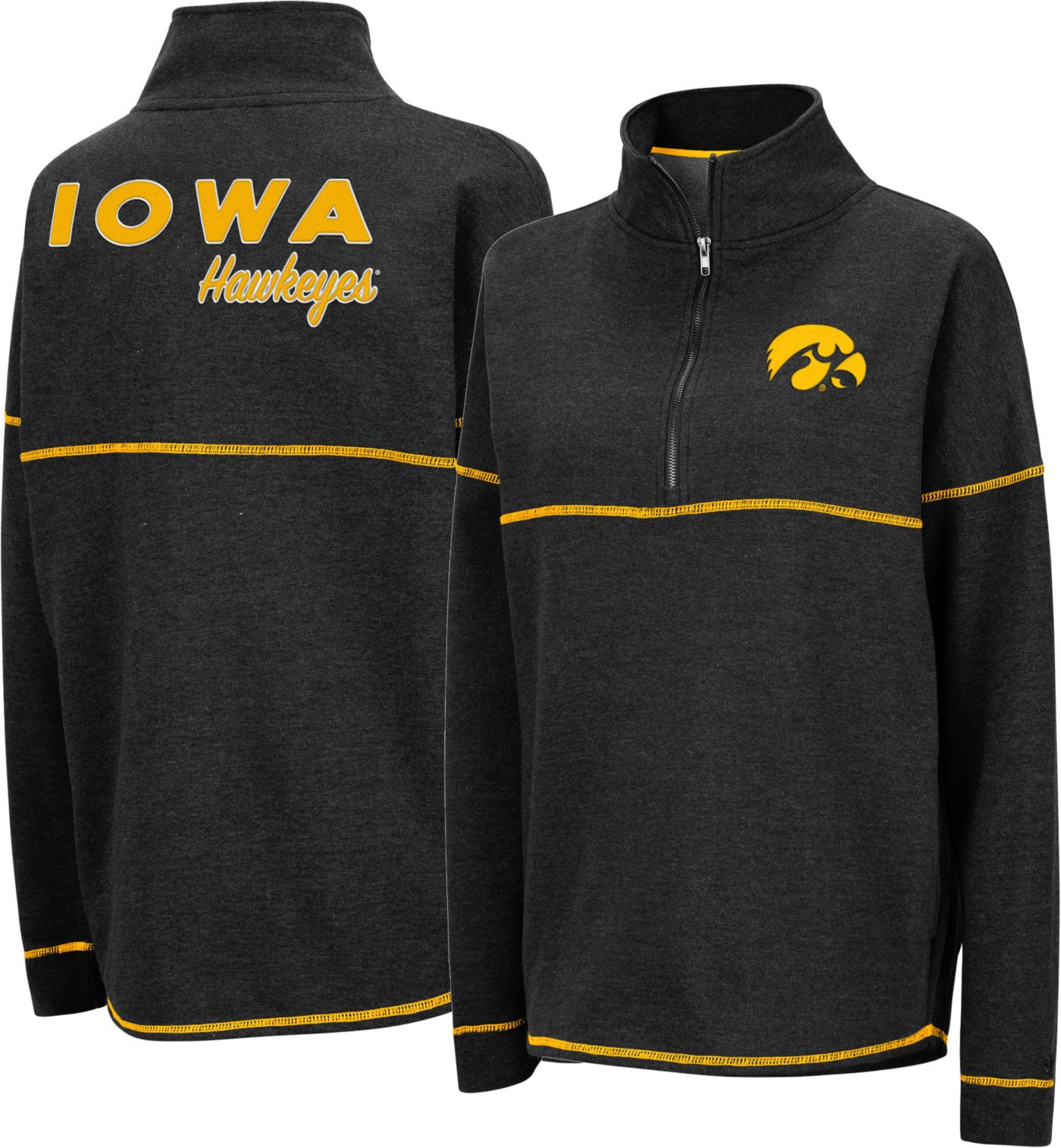 Colosseum Women's Iowa Hawkeyes Horsetail Half-Zip Black Shirt