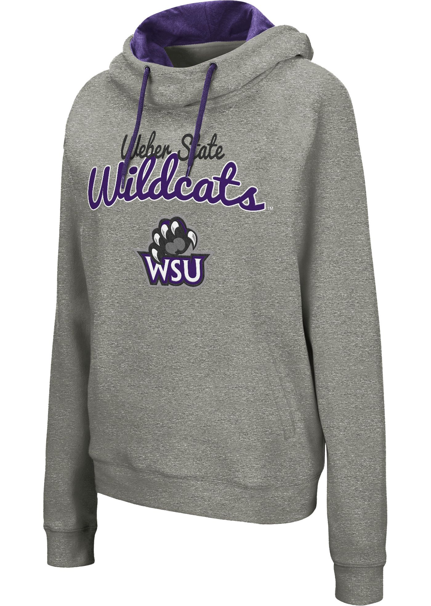 Colosseum Women's Weber State Wildcats Grey Studio Funnel Pullover Hoodie