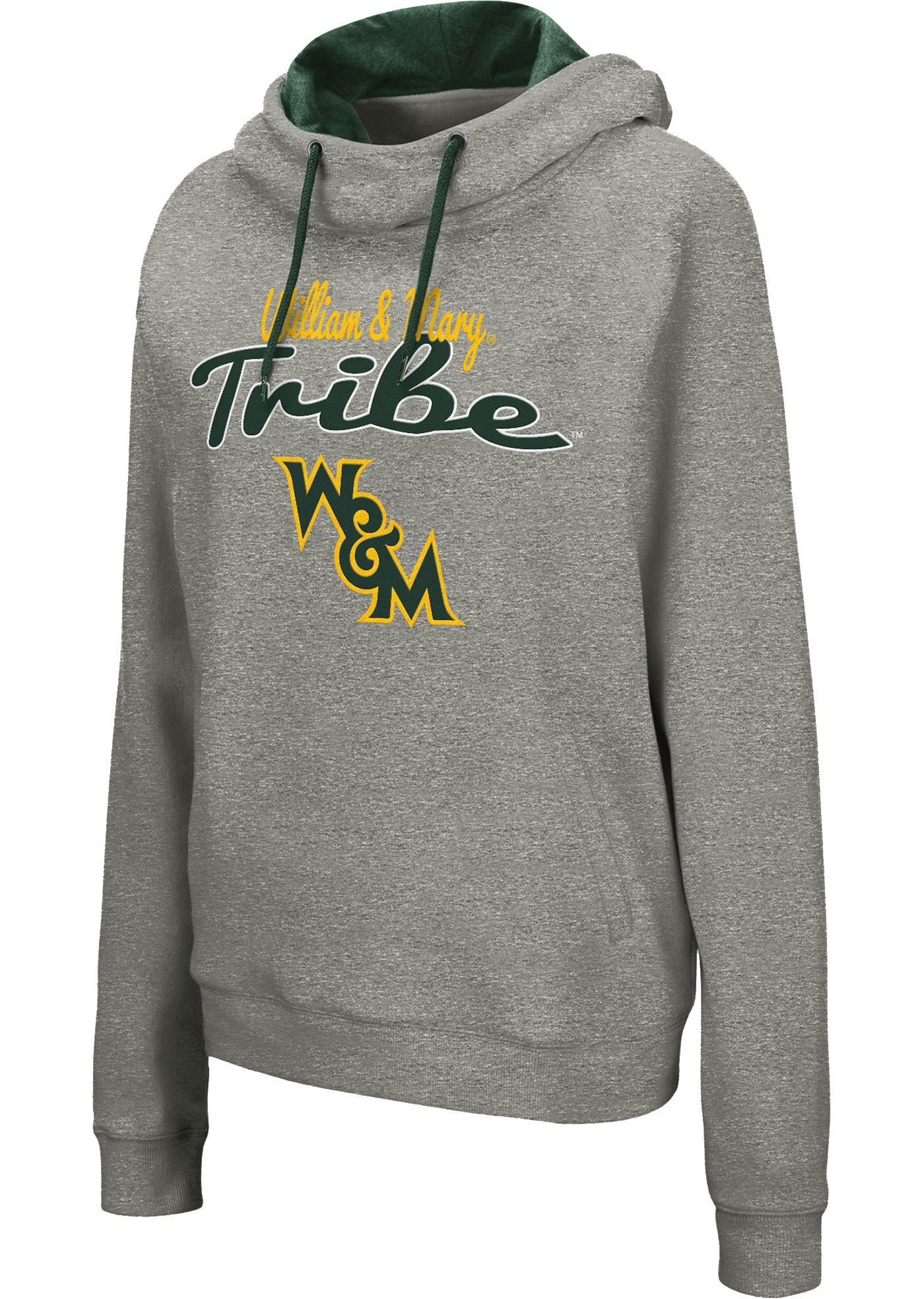 Colosseum Women's William & Mary Tribe Grey Studio Funnel Pullover Hoodie