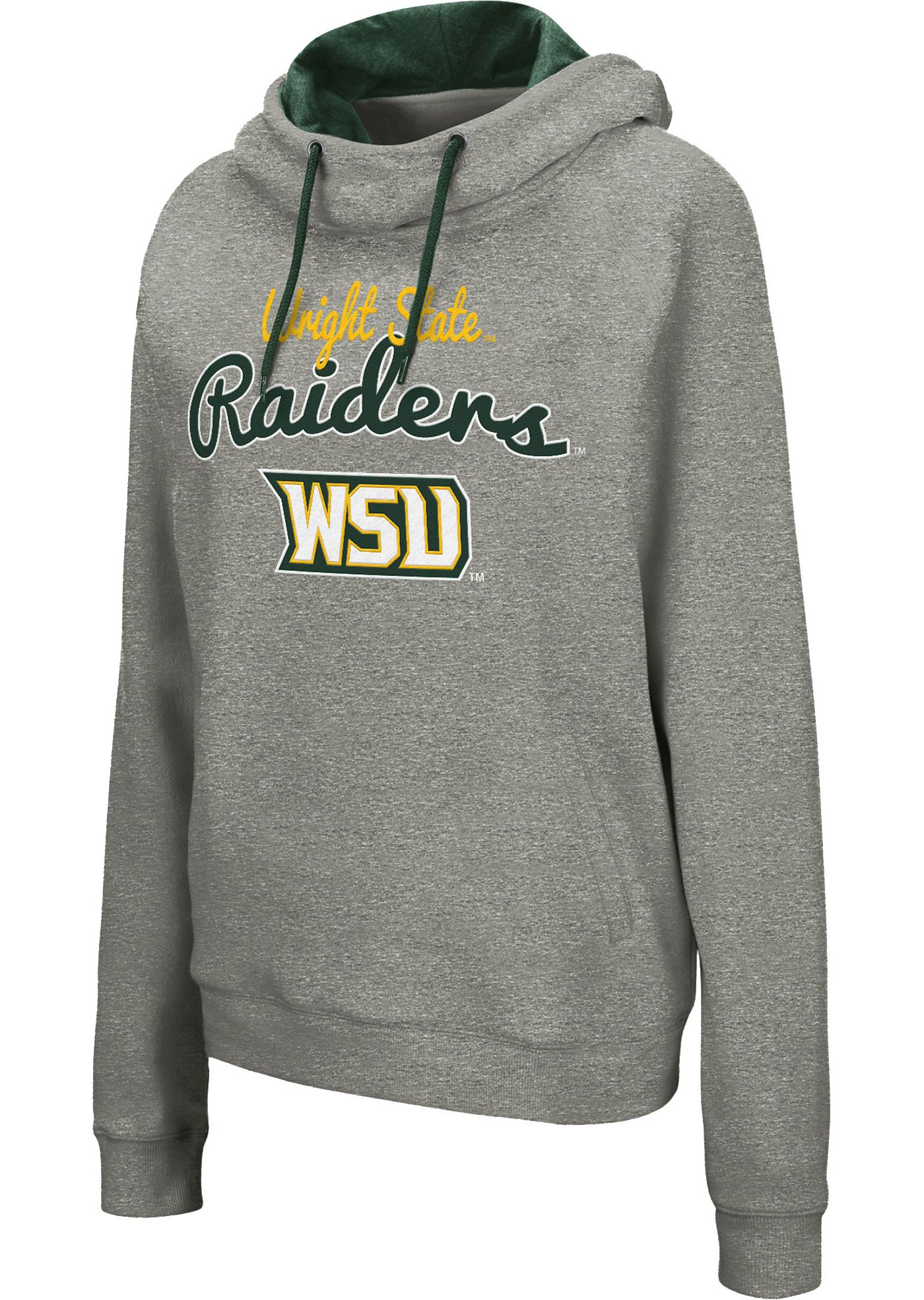 Colosseum Women's Wright State Raiders Grey Studio Funnel Pullover Hoodie