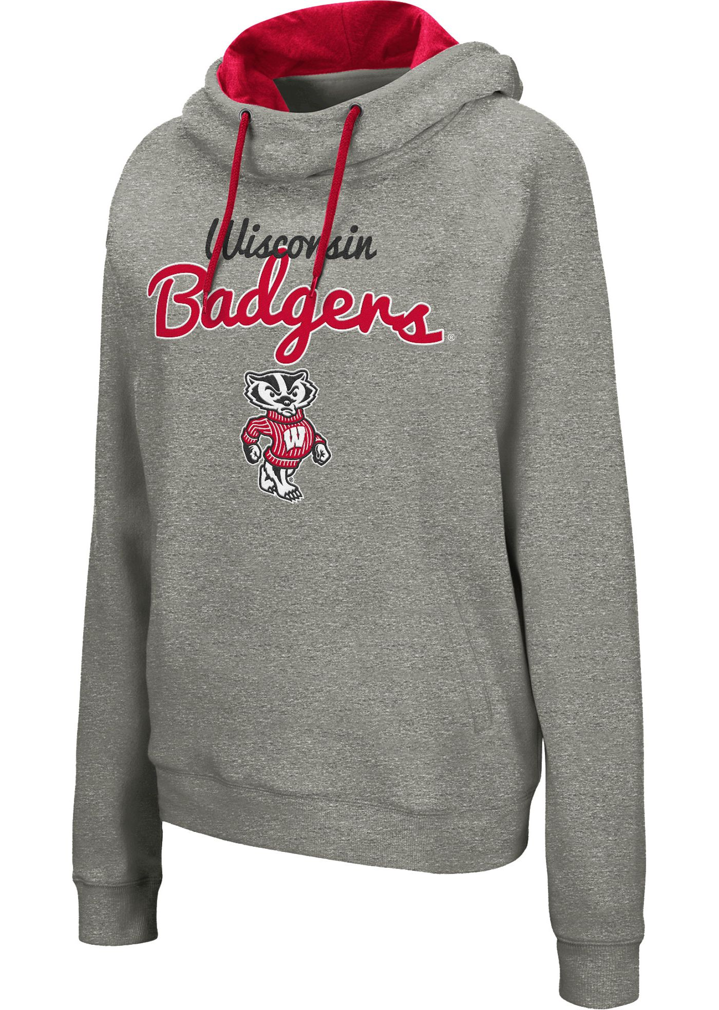 Colosseum Women's Wisconsin Badgers Grey Studio Funnel Pullover Hoodie