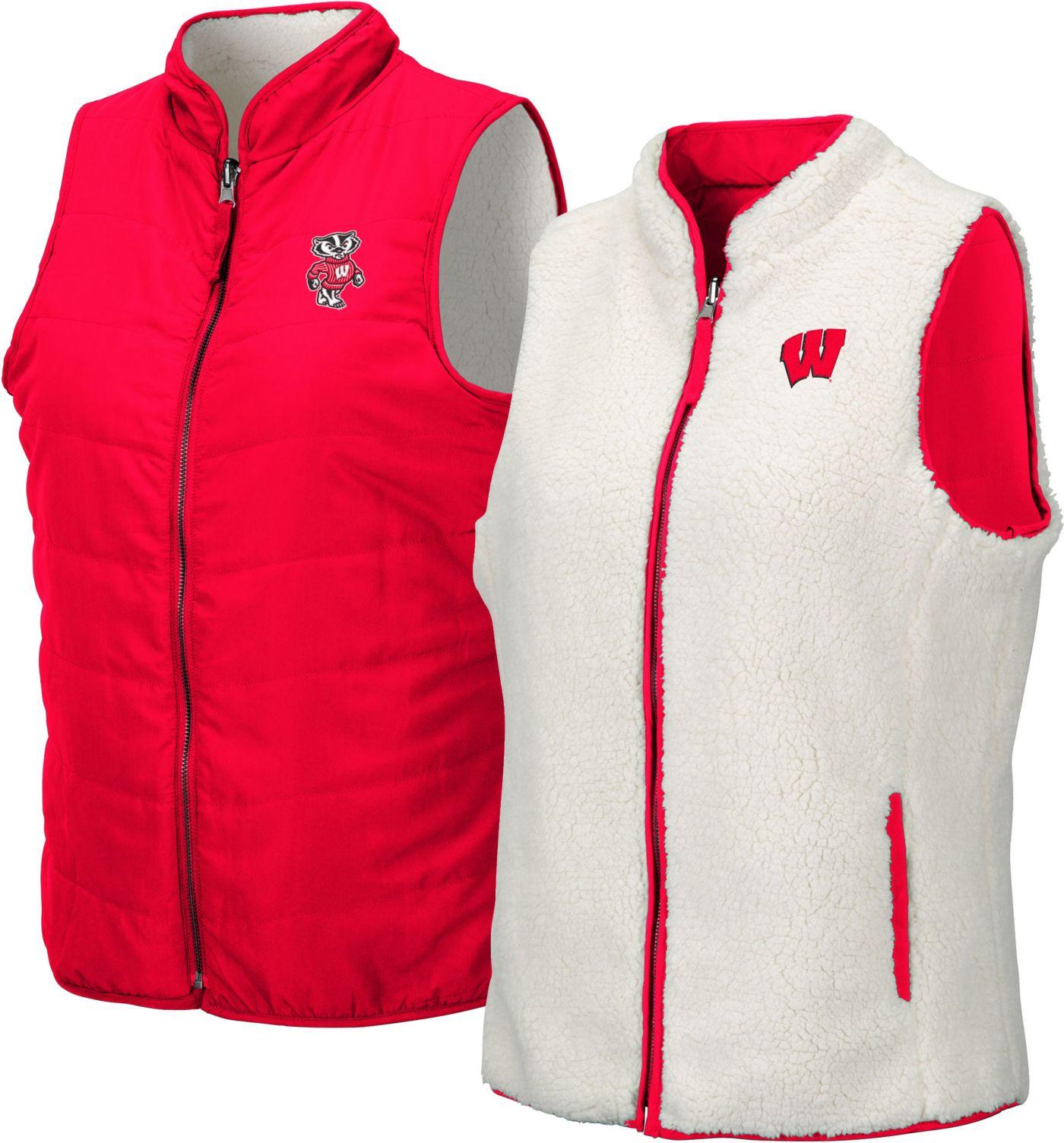Colosseum Women's Wisconsin Badgers Red Blatch Reversible Full-Zip Vest