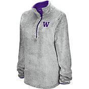 Colosseum Women's Washington Huskies Grey Goldenblatt Half-Snap Pullover Fleece