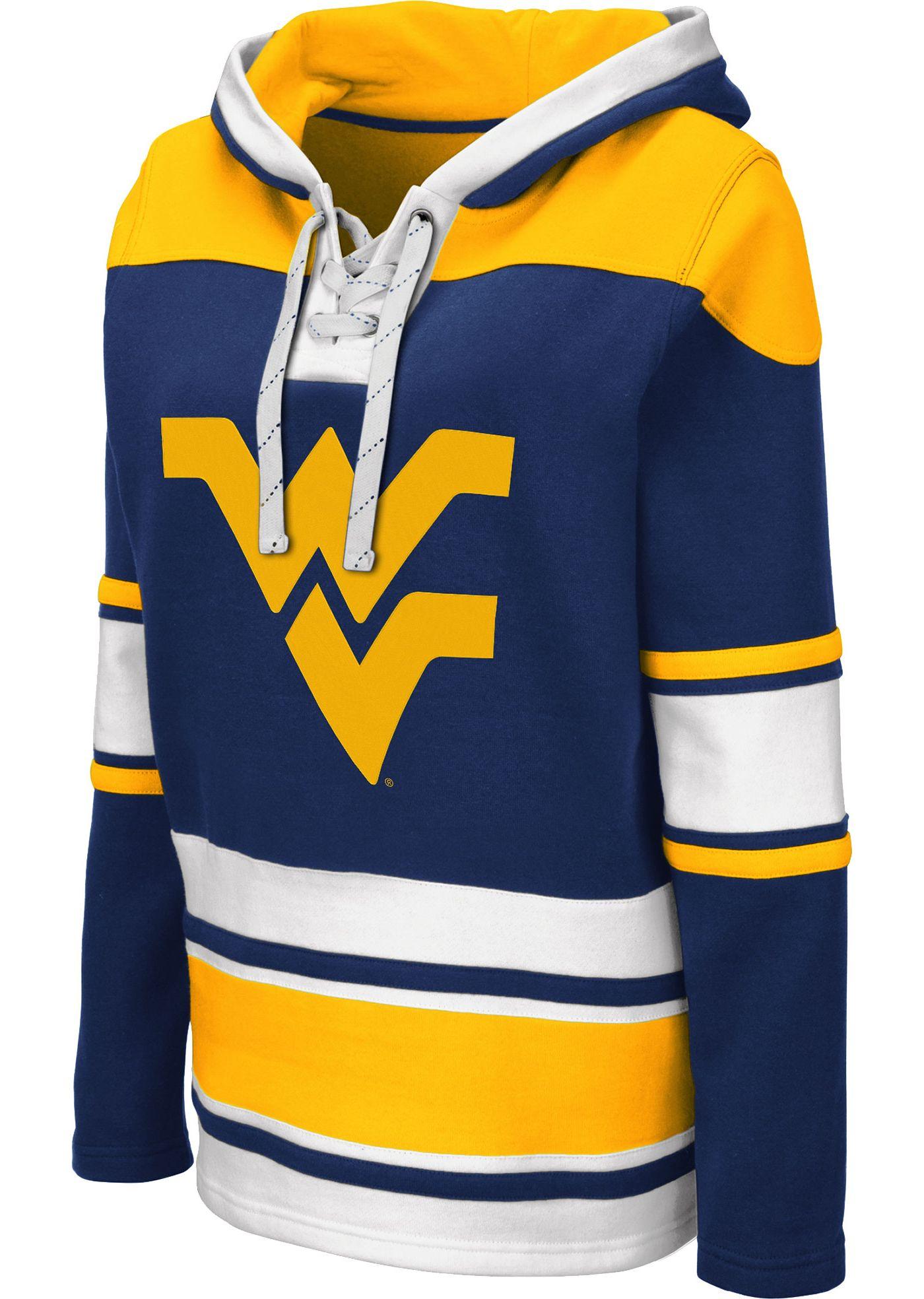 Colosseum Women's West Virginia Mountaineers Blue Choo Hockey Pullover Hoodie