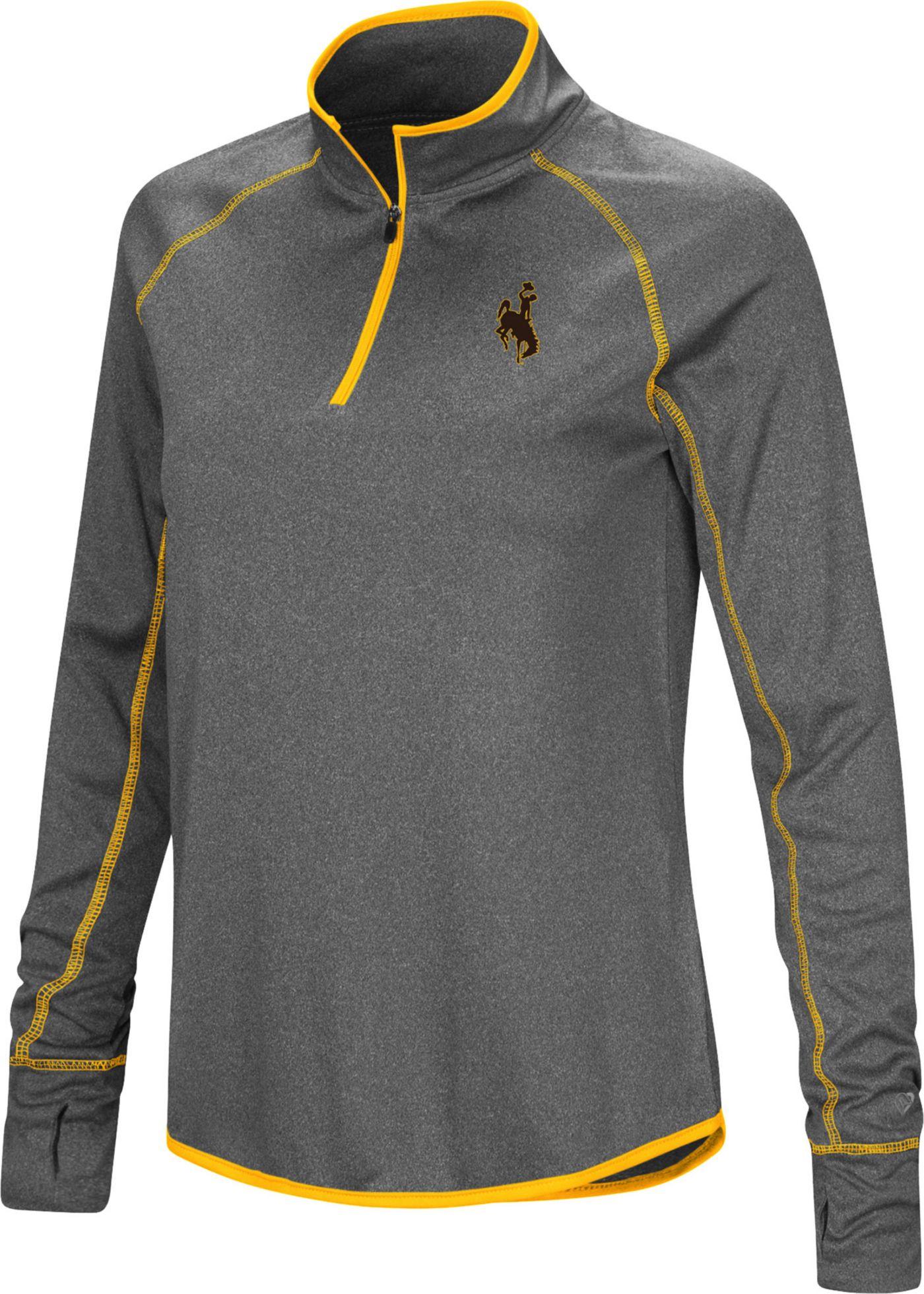 Colosseum Women's Wyoming Cowboys Grey Stingray Quarter-Zip Shirt