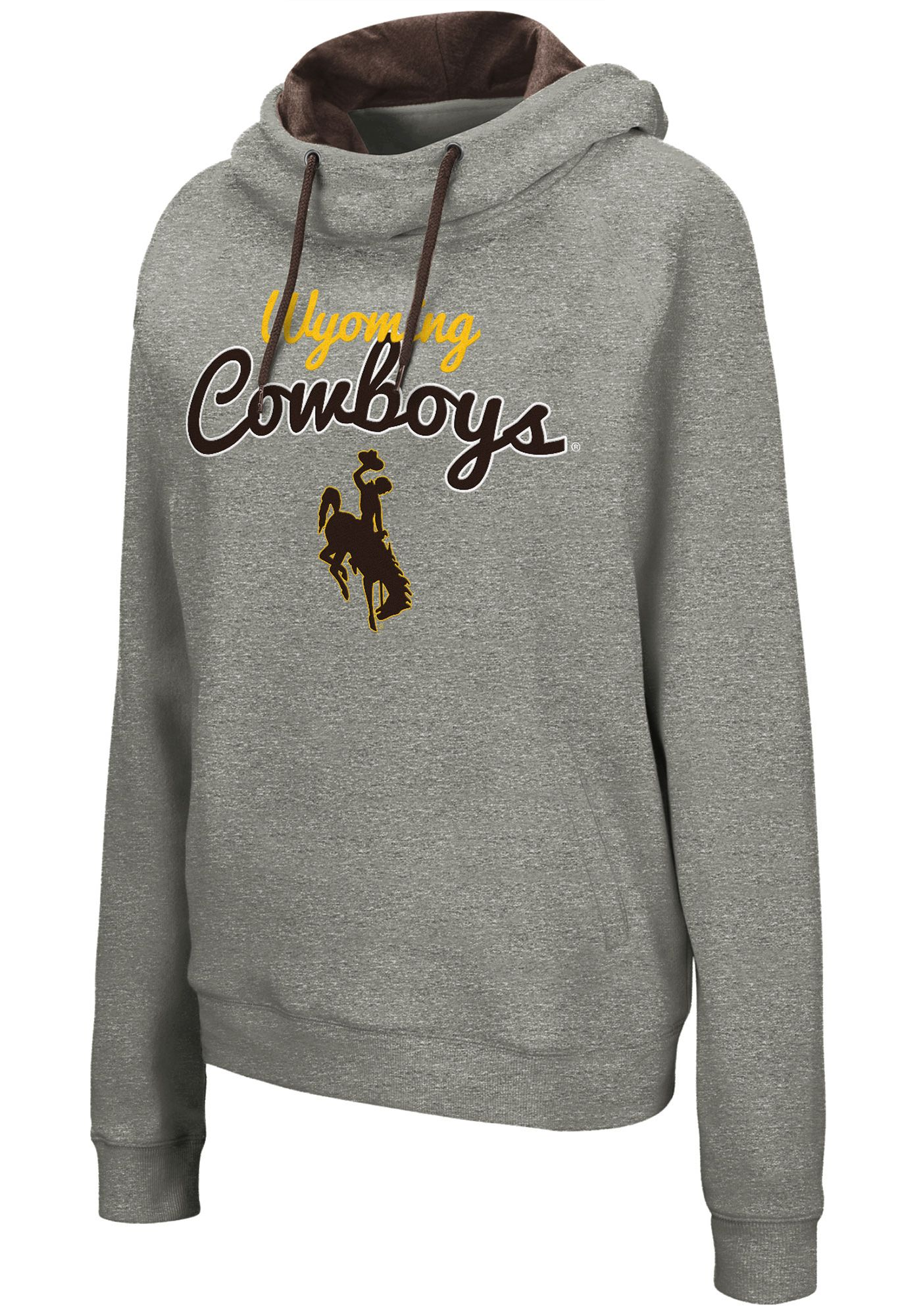 Colosseum Women's Wyoming Cowboys Grey Studio Funnel Pullover Hoodie