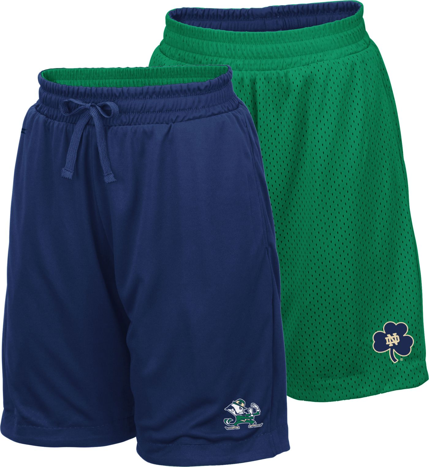 Colosseum Youth Notre Dame Fighting Irish Navy/Green Field Trip Reversible Shorts