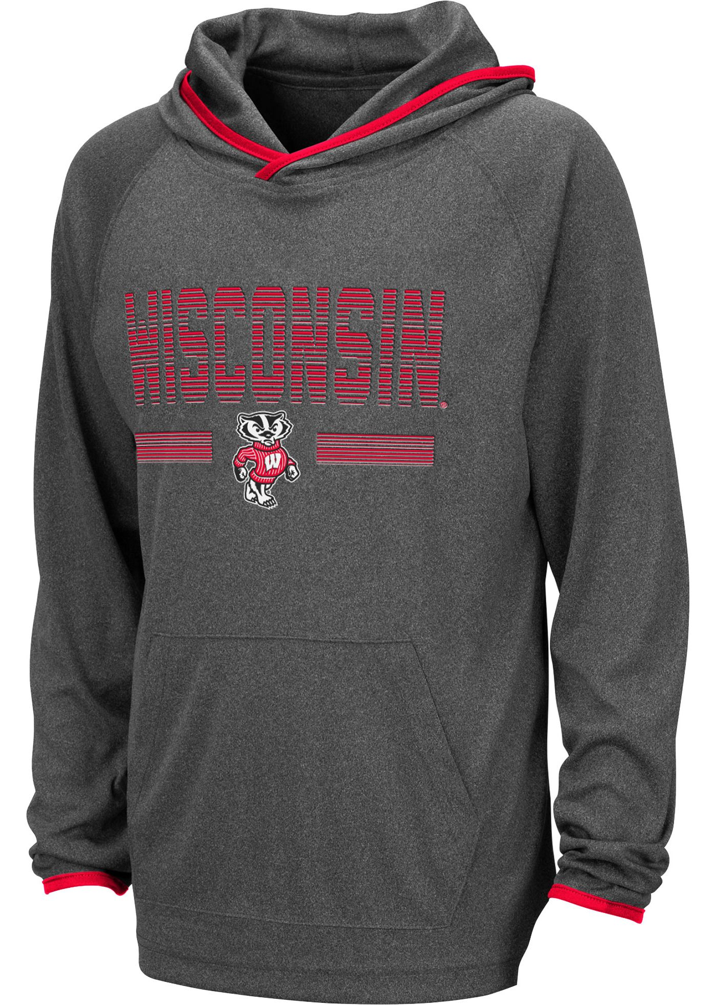 Colosseum Youth Wisconsin Badgers Grey Narf! Pullover Hoodie