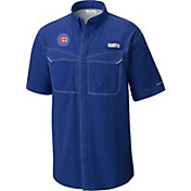 Columbia Men's Chicago Cubs Blue Low Drag Offshore Performance Short Sleeve Shirt