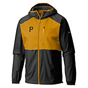 Columbia Men's Pittsburgh Pirates Black Flash Forward Full-Zip Windbreaker Jacket