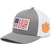 Columbia Men's Clemson Tigers Grey PFG Flag Mesh Fitted Hat