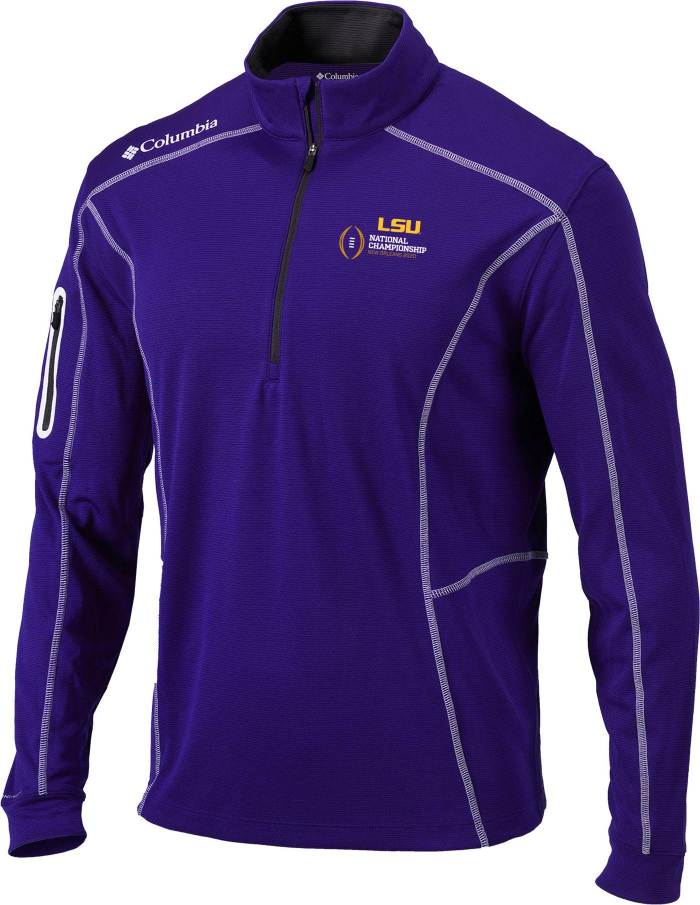 Columbia Men's 2019-20 College Football National Championship Bound LSU Tigers Purple Shotgun Quarter-Zip Shirt