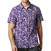 Columbia Men's LSU Tigers Purple Super Slack Tide Button-Down Shirt