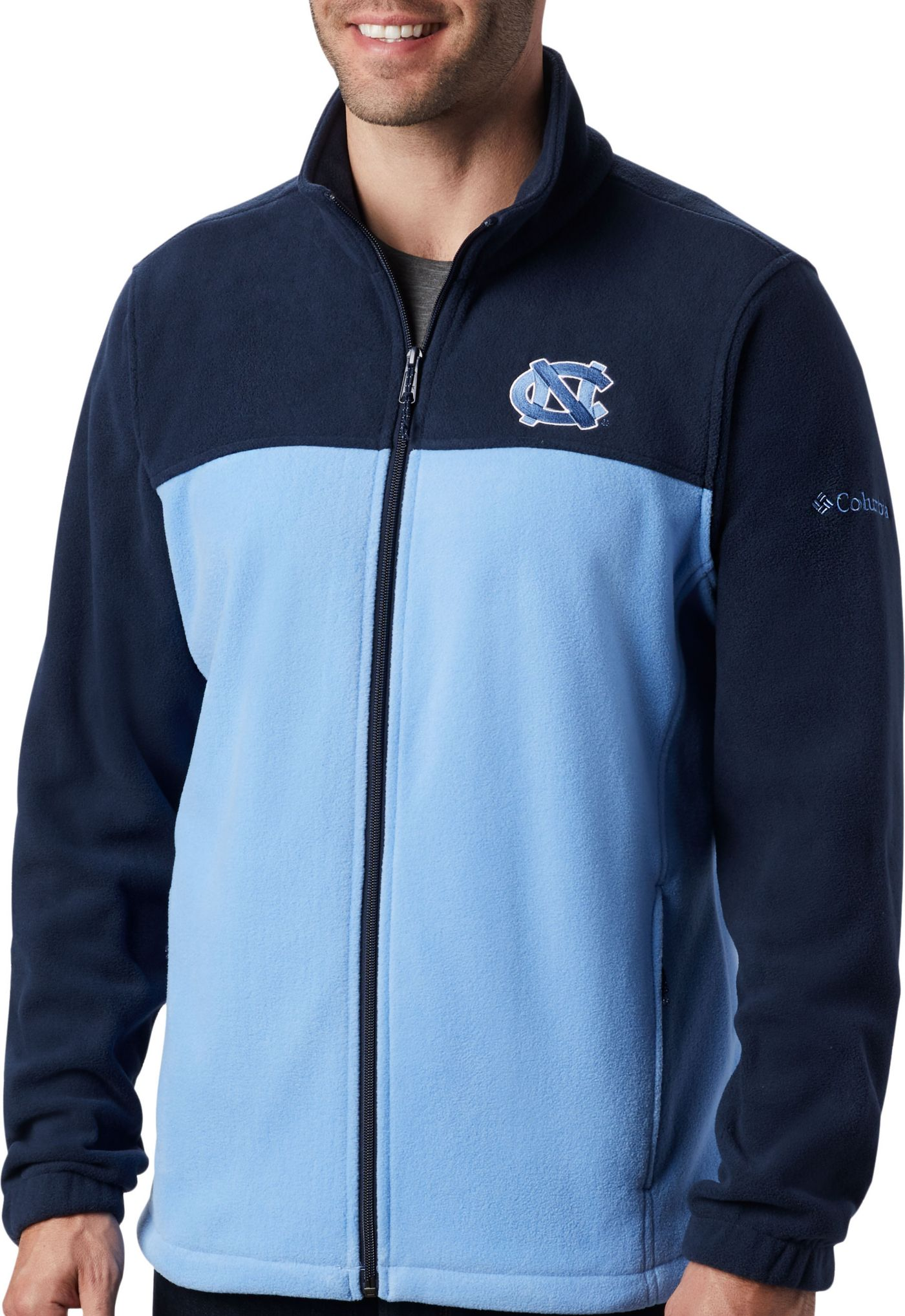 Columbia Men's North Carolina Tar Heels Navy Flanker Full-Zip Fleece Jacket
