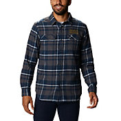 Columbia Men's Notre Dame Fighting Irish Gold Plaid Flare Gun Flannel Long Sleeve Shirt