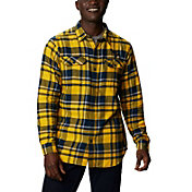 Columbia Men's West Virginia Mountaineers Blue Plaid Flare Gun Flannel Long Sleeve Shirt