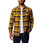 Columbia Men's Iowa Hawkeyes Gold Plaid Flare Gun Flannel Long Sleeve Shirt