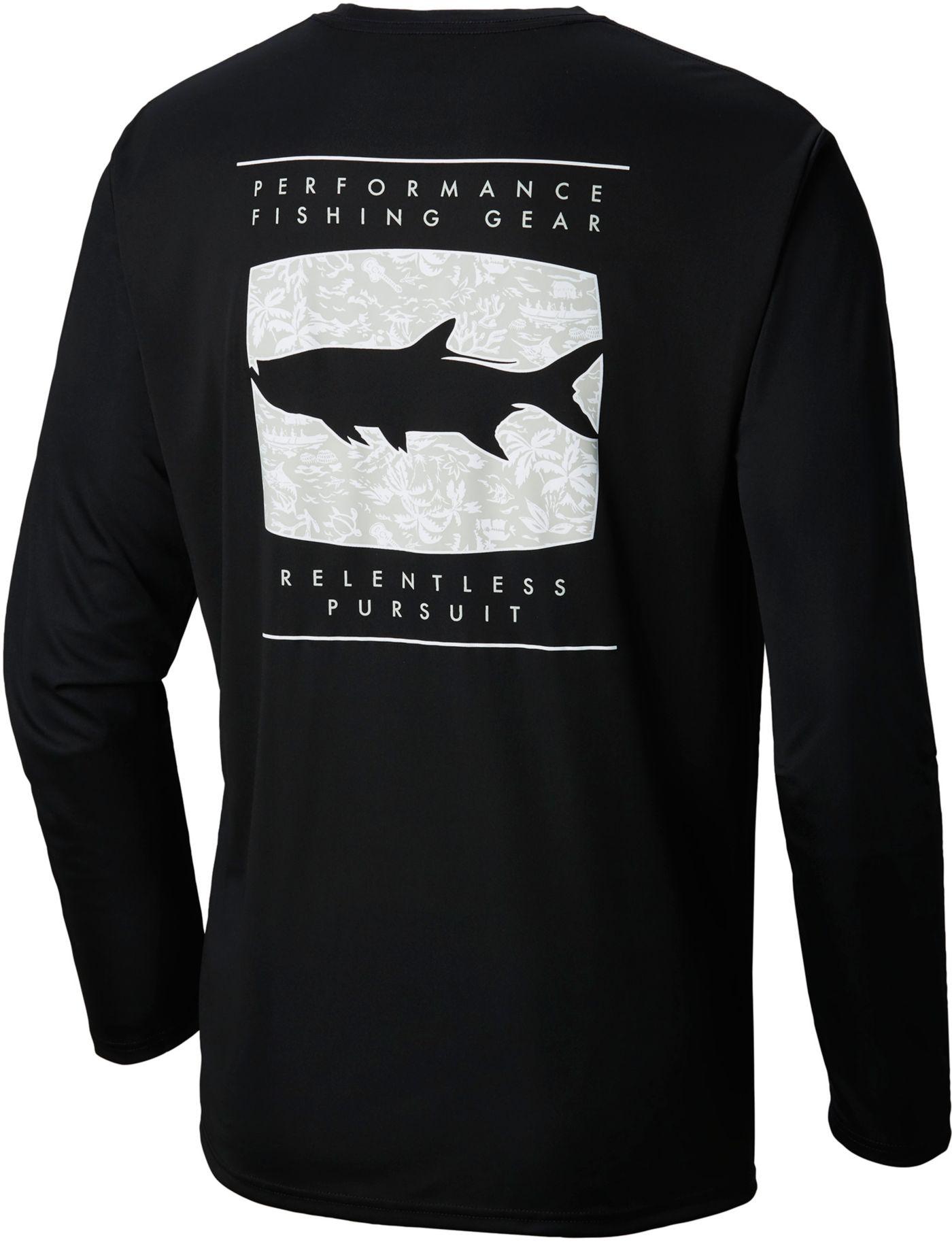 Columbia Men's Terminal Tackle Print Fish Long Sleeve Shirt