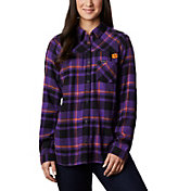 Columbia Women's Clemson Tigers Regalia Plaid Flare Gun Flannel Long Sleeve Shirt