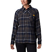Columbia Women's Michigan Wolverines Blue Plaid Flare Gun Flannel Long Sleeve Shirt