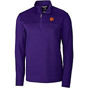 Cutter & Buck Men's Clemson Tigers Regalia Traverse Stripe Half-Zip Shirt
