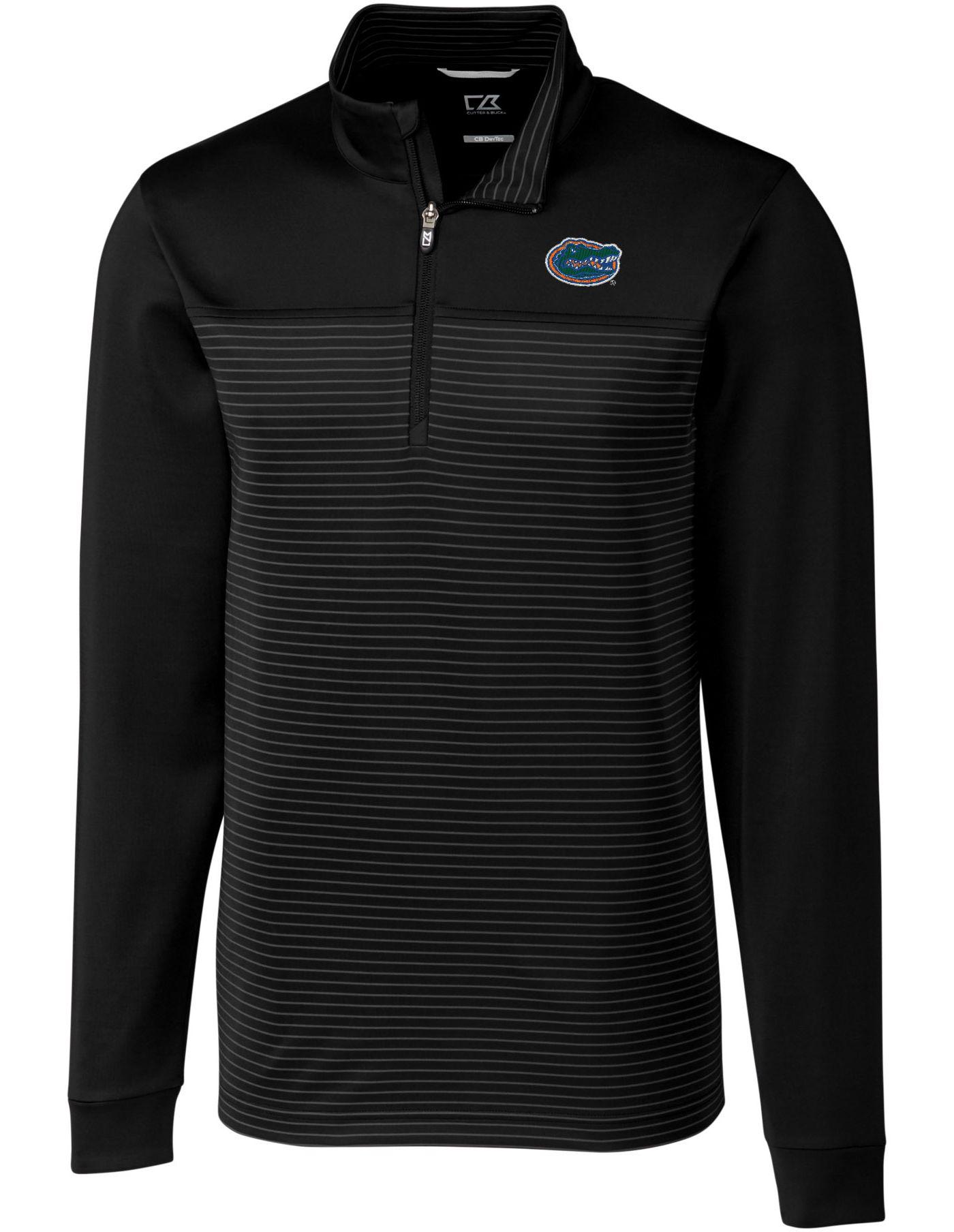 Cutter & Buck Men's Florida Gators Traverse Stripe Half-Zip Black Shirt